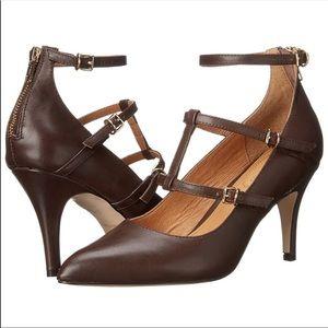Nubuck Leather Slender Straps Pointy Toe Stilettos